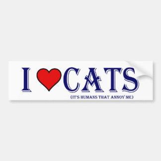 I Love my cats Car Bumper Sticker
