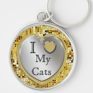 I Love My Cats Or ? Heart Keychain