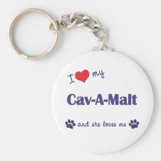 I Love My Cav-A-Malt Female Dog Keychains