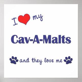 I Love My Cav-A-Malts Multiple Dogs Print