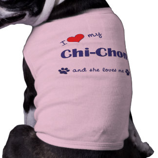 I Love My Chi-Chon (Female Dog) Sleeveless Dog Shirt