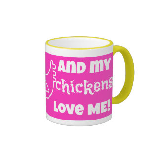 """I love my chickens"" in hot pink! Mugs"