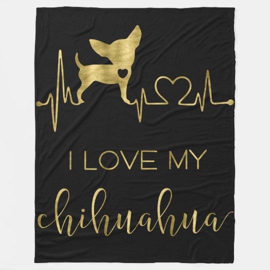 I Love My Chihuahua Black Fleece Blankets