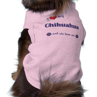 I Love My Chihuahua (Female Dog) Sleeveless Dog Shirt