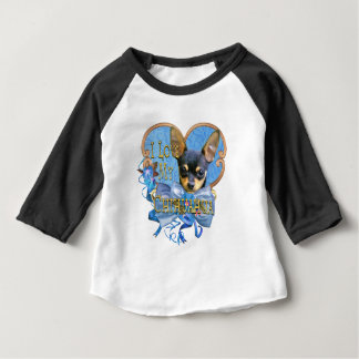 I Love My Chihuahua in Blue Heart Baby T-Shirt