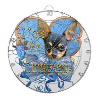 I Love My Chihuahua in Blue Heart Dartboard