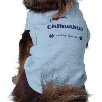 I Love My Chihuahua (Male Dog) Sleeveless Dog Shirt