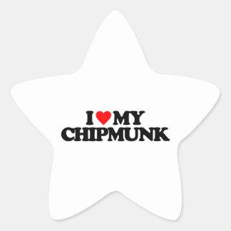 I LOVE MY CHIPMUNK STAR STICKERS
