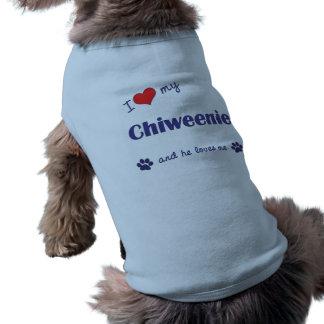 I Love My Chiweenie (Male Dog) Sleeveless Dog Shirt