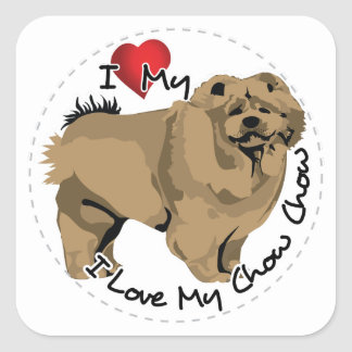 I Love My Chow Chow Dog Square Sticker