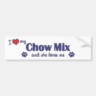 I Love My Chow Mix (Female Dog) Bumper Sticker