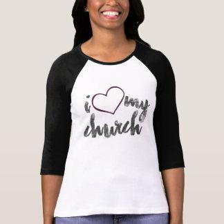 I Love My Church Women's Bella 3/4 Sleeve T-Shirt Tshirts