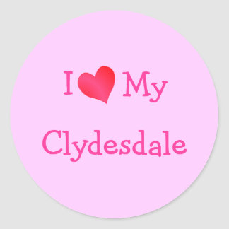 I Love My Clydesdale Round Stickers