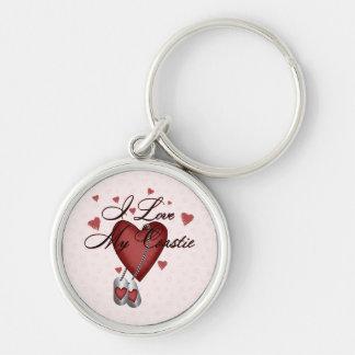 I Love My Coastie Silver-Colored Round Key Ring