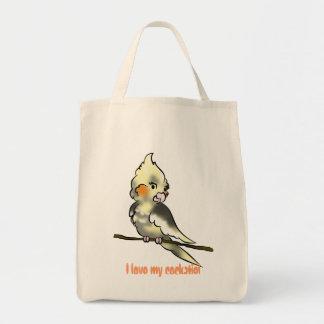 I love my cockatiel grocery baggie tote bag