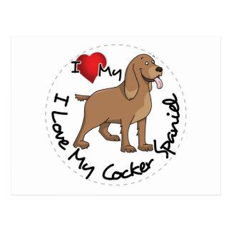 I Love My Cocker Spaniel Dog Postcard