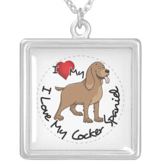 I Love My Cocker Spaniel Dog Silver Plated Necklace