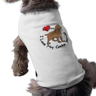 I Love My Cocker Spaniel Dog Sleeveless Dog Shirt