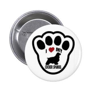 I love my Cocker Spaniel Paw Print 6 Cm Round Badge