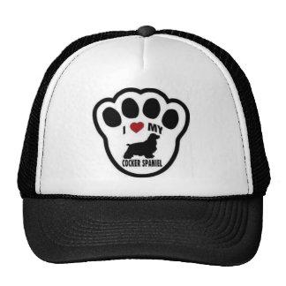 I love my Cocker Spaniel Paw Print Mesh Hats