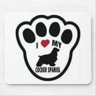 I love my Cocker Spaniel Paw Print Mousepads