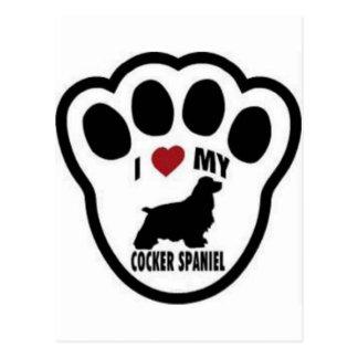 I love my Cocker Spaniel Paw Print Postcard