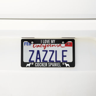 I Love My Cocker Spaniel | Silhouettes Licence Plate Frame