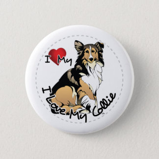 I Love My Collie Dog 6 Cm Round Badge