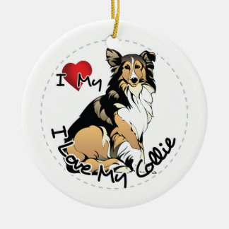 I Love My Collie Dog Ceramic Ornament