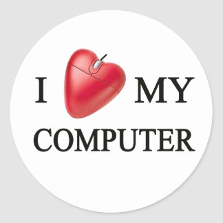 I LOVE MY COMPUTER CLASSIC ROUND STICKER
