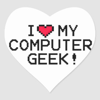 I Love My Computer Geek Heart Sticker