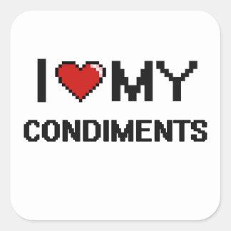 I Love My Condiments Digital design Square Sticker