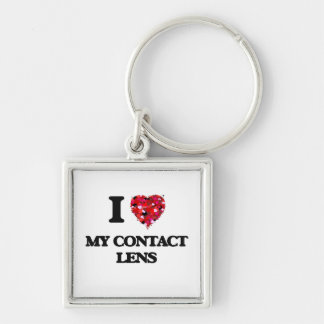 I love My Contact Lens Silver-Colored Square Key Ring