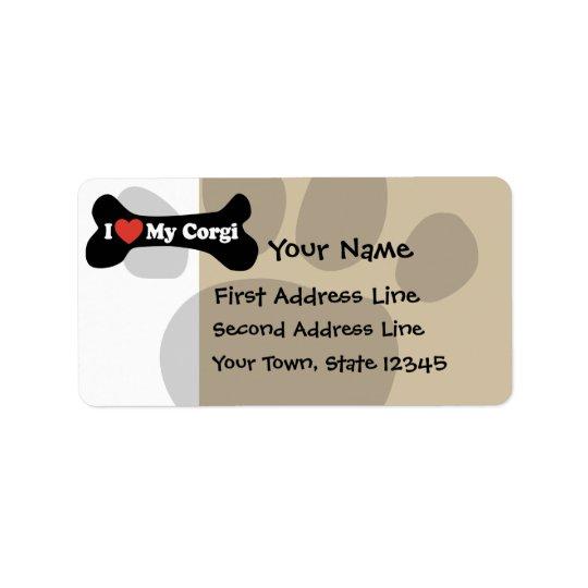 I Love My Corgi - Dog Bone Label