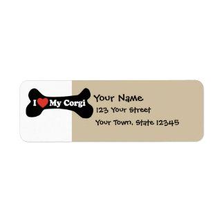 I Love My Corgi - Dog Bone Return Address Label