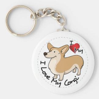 I Love My Corgi Dog Key Ring