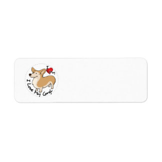 I Love My Corgi Dog Return Address Label