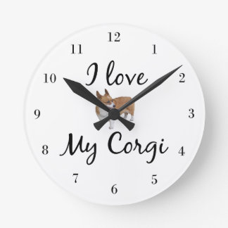 I Love My Corgi Round Clock
