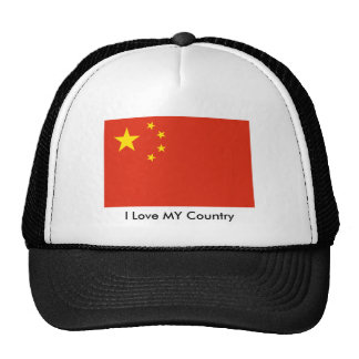 I Love MY Country China Flag Peoples Republic Trucker Hats