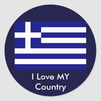 I Love MY Country Greece Flag The MUSEUM Zazzle Round Sticker