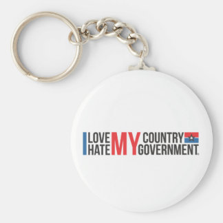 I love MY COUNTRY hate MY GOVERNMENT Basic Round Button Key Ring