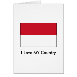 I Love MY Country Indonesia Flag Card