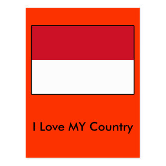 I Love MY Country Indonesia Flag Post Cards