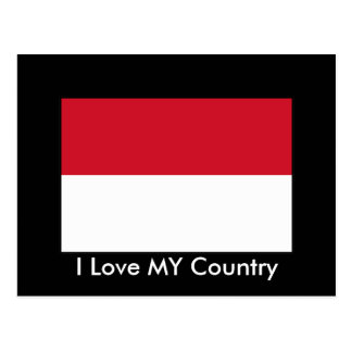 I Love MY Country Indonesia Flag Postcard
