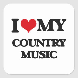 I Love My COUNTRY MUSIC Square Stickers