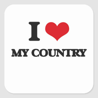 I love My Country Square Stickers