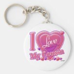 I Love My Cousin pink/purple - heart Basic Round Button Key Ring