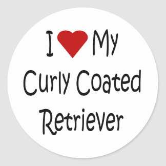 I Love My Curly Coated Retriever Dog Lover Gifts Classic Round Sticker