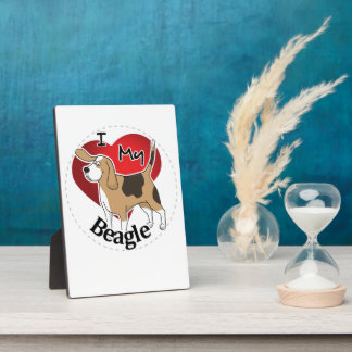 I Love My Cute Funny Happy & Adorable Beagle Dog Plaque