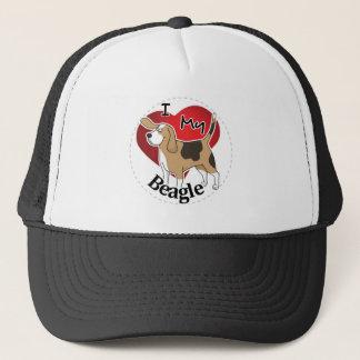 I Love My Cute Funny Happy & Adorable Beagle Dog Trucker Hat